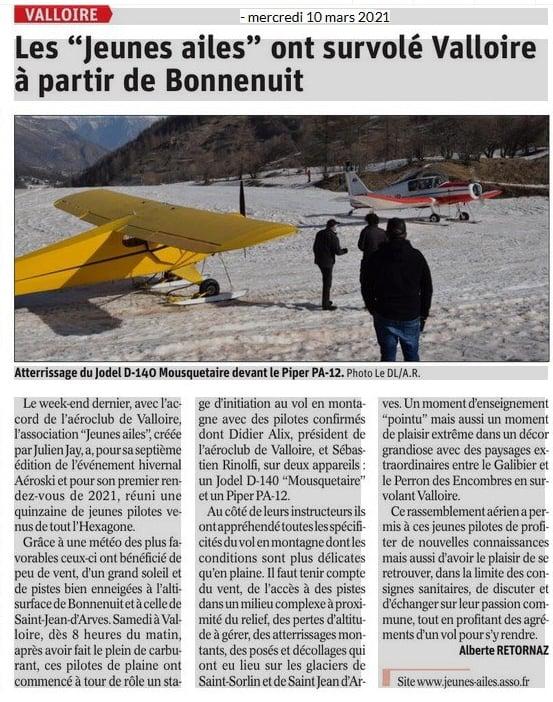 Article paru dans le Dauphiné Libéré le mercredi 10 mars 2021 - Aéroski Jeunes Ailes